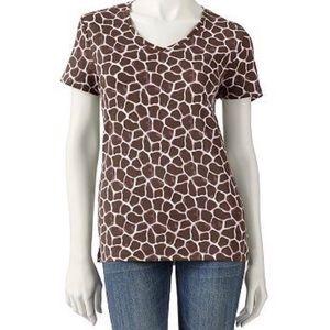 🦒Croft&Barrow giraffe print short sleeve tee🦒